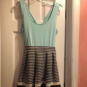 Teal criss cross top dress